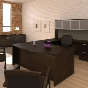 Cherryman Amber U Shaped Bow Front Office Suite